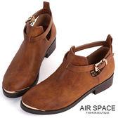 踝靴 金屬皮帶釦鏤空個性踝靴(咖啡) -AIR SPACE