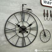 復古流行工業風大型鐵藝腳踏車模型輪框掛鐘 台灣製超靜音機芯時鐘 自行車懷舊造型-米鹿家居
