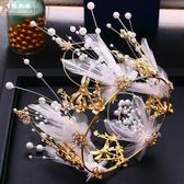 新娘頭飾2018新款超仙美飾珍珠蝴蝶發箍耳環韓式時尚婚禮服頭飾品