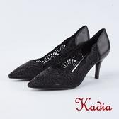 kadia.精緻雕花羊皮尖頭高跟鞋(8533-91黑色)