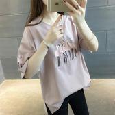 夏季新款短袖T恤女韓版寬鬆圓領純色繡花半截袖體恤衫女上衣     韓小姐