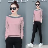 大學T套裝女裝冬紅色韓版2019新款顯瘦時尚休閒運動服女春秋兩件套