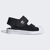 Adidas Superstar 360 C [FV7586] 中童鞋 運動 休閒 涼鞋 黏扣帶 保護 愛迪達 黑