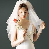 頭紗 頭紗旅拍寫真結婚旅行小白紗頭飾新娘造型頭紗