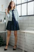 [H2O]領片縫珠裝飾薄款丹寧八分袖牛仔外套 - 藍/淺藍色 #8693003 春裝上市