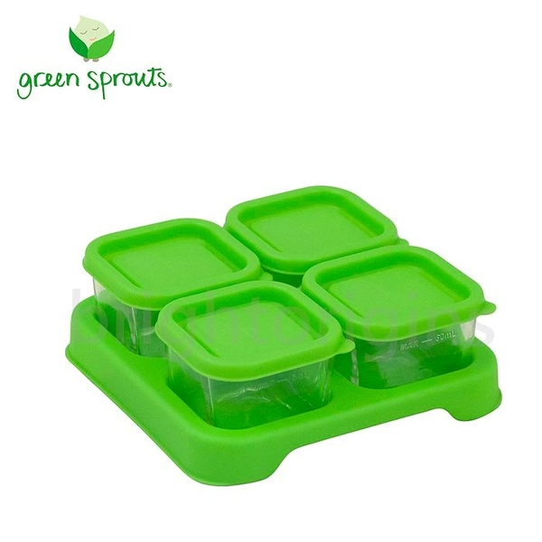 Green Sprouts 副食品小分裝盒60ml 一組4入(玻璃)-綠色[衛立兒生活館]