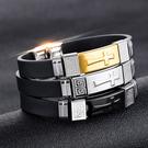 《QBOX 》FASHION 飾品【B100N1249】精緻個性經典十字架矽膠鈦鋼手鍊/手環