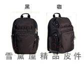 ~雪黛屋~eeBag 後背包大容量可A4資夾14吋電腦主袋+外袋共五層超輕防水尼龍布+皮革HEB03323