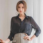 2018夏款新款女裝氣質百搭寬鬆顯瘦透視上衣防曬衫性感雪紡襯衫薄  enjoy精品