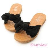 拖鞋 D+AF 可愛無敵.立體蝴蝶結平底涼拖鞋*黑