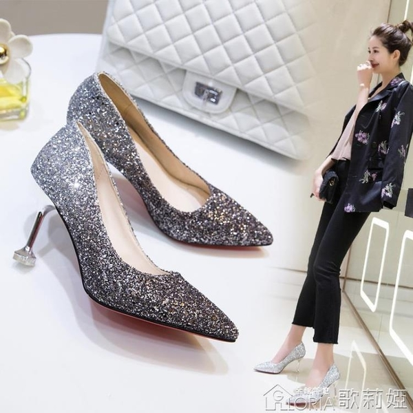 水晶鞋婚鞋女春秋款百搭宴會配晚禮服婚紗伴娘細跟銀色高跟鞋 歌莉婭