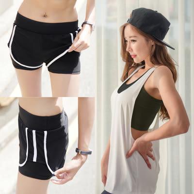 健身房運動服女件套背心假兩件長褲運動跑步服  - 1064006