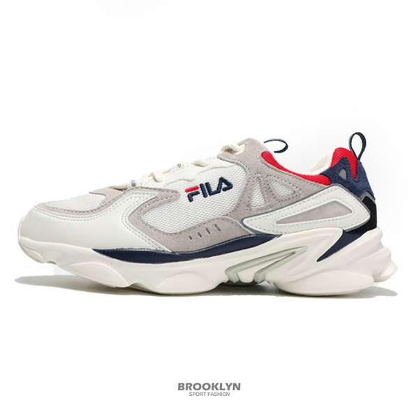 FILA 休閒鞋 老爹鞋 奶油色 藍紅 拼接 復古 SKIPPER 男 (布魯克林) 4J528T131