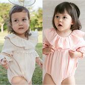 薄長袖包屁衣 荷葉領 兔裝 女寶寶 連身衣 爬服 爬衣 哈衣 80014