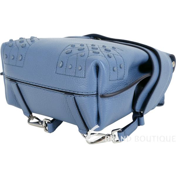 TOD'S Wave 迷你款 豆豆裝飾牛皮多用法後背包(藍色) 1840309-23