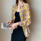 襯衫 長袖 上衣格子襯衫外套女夏季新款上衣ins防曬衣長袖百搭潮 7090 N502 胖妞衣櫥