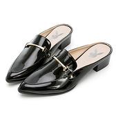 PLAYBOY 玩美小時光 慵懶個性漆皮穆勒鞋-黑(YD7316)