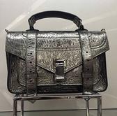 ■現貨在台■專櫃61折■Proenza Schouler PS1 Tiny 古銀色爆裂紋小款兩用包