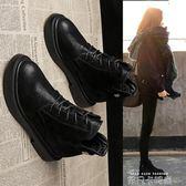 馬丁靴女英倫風學生 百搭復古女靴春秋單靴子黑色加絨短靴系帶依凡卡
