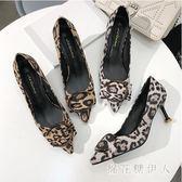 豹紋性感高跟鞋女細跟2019新款春圓扣尖頭淺口中跟貓跟單鞋女絨面 LJ675【棉花糖伊人】