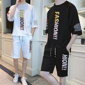 褲子男士休閒褲韓版潮流春季薄款寬鬆運動褲五分褲學生春夏季套裝
