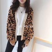 現貨 質感兔絨豹紋毛衣外套 CC KOREA ~ Q18397