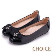 CHOiCE 舒適甜美 雙材質拼接船錨飾釦平底娃娃鞋-黑色