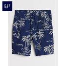 Gap男童 舒適抽繩鬆緊腰短褲 461099-靛藍棕櫚葉印花