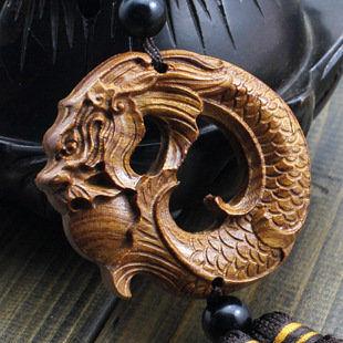 花梨木質工藝品 十二生肖龍形汽車用品掛件