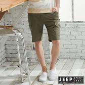 【JEEP】時尚造型口袋休閒短褲-軍綠
