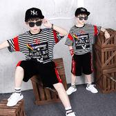 潮牌男童夏裝短袖兩件套 韓版夏天學生運動街舞服 2019新款套裝