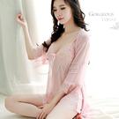 969情趣~沉淪月貌.性感蕾絲透視睡衣+外罩衫二件式睡衣(藕粉色)