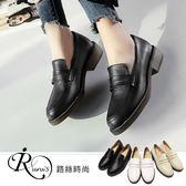 韓系學院風簡約大方圓頭休閒低跟包鞋/3色/35-43碼 (RX0935-3711) iRurus 路絲時尚
