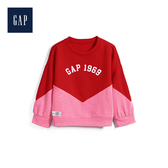 Gap女幼童活力拼色徽標長袖休閒上衣527455-粉紅色色塊