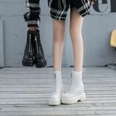 鬆糕厚底 鬆糕厚底女靴中跟增高防滑馬丁靴前拉鍊加絨皮面靴子秋冬短筒女鞋 卡菲婭