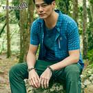 TERNUA 男Shellstretch格紋彈性短袖襯衫1481164 AF / 城市綠洲(輕量透氣、彈性快乾、防異味)
