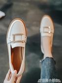 小皮鞋女百搭平底秋鞋英倫單鞋潮鞋新款一腳蹬樂福鞋 格蘭小舖