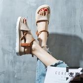 涼鞋女夏季韓版厚底鞋學生百搭松糕扣帶羅馬鞋【左岸男裝】