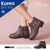 靴.皮帶繞飾低跟短靴-FM時尚美鞋-韓國精選.young
