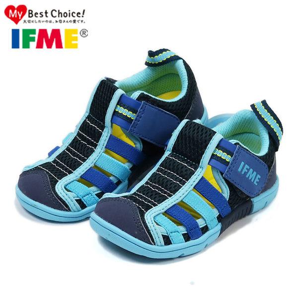 日本IFME中童款 海軍藍透氣機能水涼鞋.包頭涼鞋.童鞋~EMMA商城