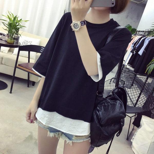 韓妞必備 2017 韓國夏季個性短袖t恤 寬鬆純色七分袖假兩件韓版學生拼接上衣