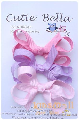 Cutie Bella蝴蝶結髮夾三入組-Multicolor