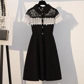 蕾絲洋裝 大碼女裝夏季短袖蕾絲拼接修身顯瘦遮肚中長款連身裙-Ballet朵朵