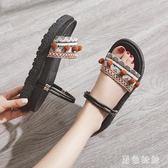 大碼平底涼鞋 涼鞋女夏新款平底兩穿百搭網紅厚底外穿女鞋仙女風拖鞋 qf22570【黑色妹妹】