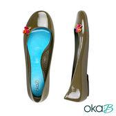 【Oka-B】PAULA彩色水晶配飾芭蕾平底娃娃鞋/包鞋  墨綠色(K053PA-DGR)