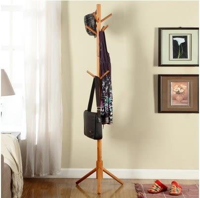 小熊居家進口橡膠木歐式衣帽架 落地多掛點掛衣架 宜家現代衣帽架   樹形實木特價