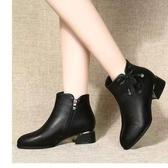 20新款女鞋春秋短靴女中跟百搭單鞋秋冬季軟底軟面鞋粗跟單靴 雙十一全館免運