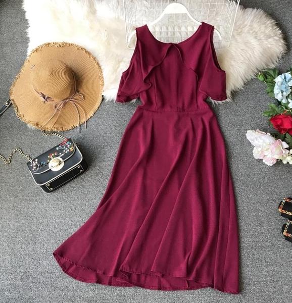 洋裝小禮服新款中長款名媛小香風露肩修身氣質顯瘦洋裝女