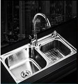 水槽 304不銹鋼廚房水槽雙槽 一體成型加厚手工洗碗池洗菜盆套餐