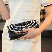 潮流手包時尚珍珠水鑽女包歐美鑲鑽手拿包帶鑽單肩斜跨包